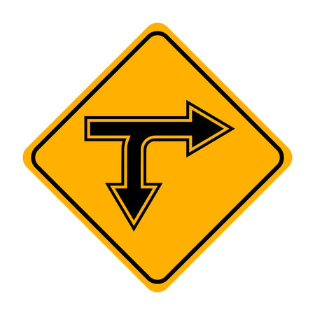 arrow road sign in yellow signage Illustration
