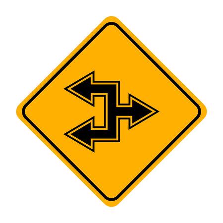 arrow road sign in yellow signage Ilustração