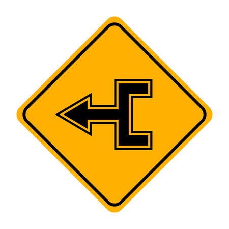 arrow road sign in yellow signage
