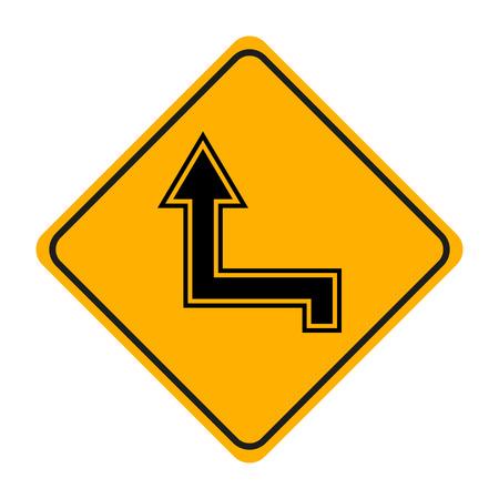 señal de tráfico de flecha en señalización amarilla