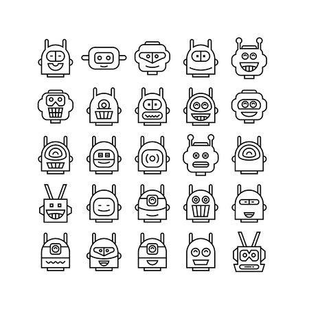 robot avatar line icons set