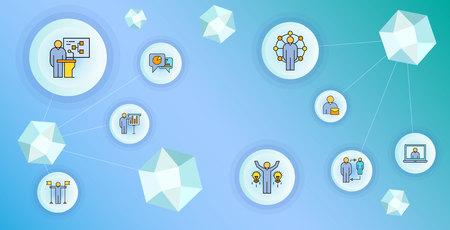 business management and organization concept network illustration 일러스트