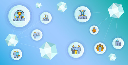 business management and organization concept network illustration Vettoriali