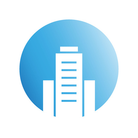 building icon in blue circle shape