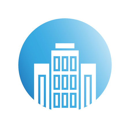 building icon in blue circle background