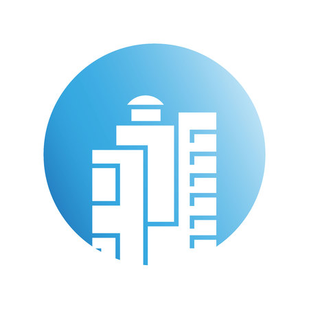 city tower in blue circle