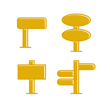 yellow wooden signpost and signage icons