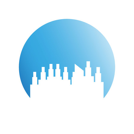 building city skyline in blue circle background
