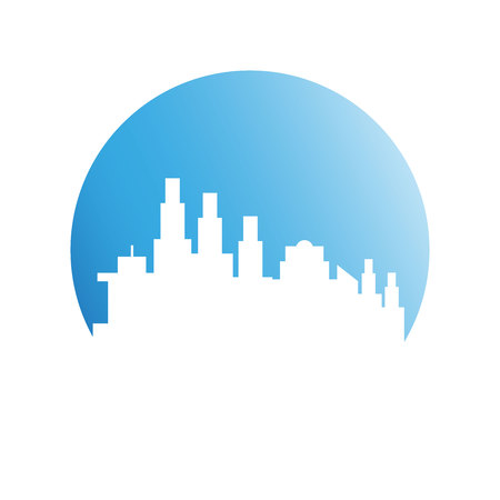 building city skyline in blue circle