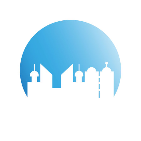 building tower city skyline in blue circle shape
