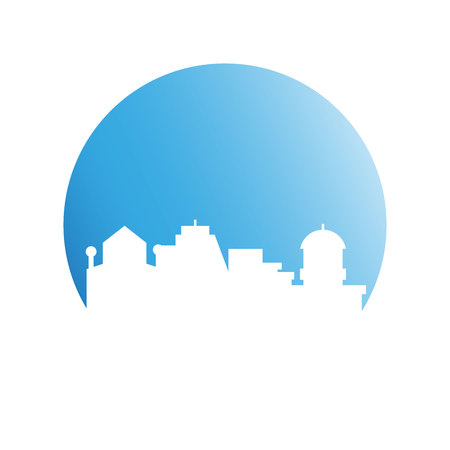 building tower and city skyline in blue circle Ilustrace