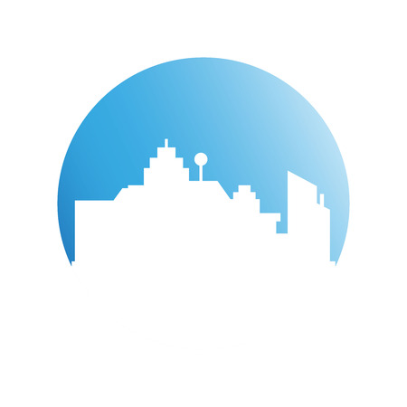 building tower and city skyline in blue circle