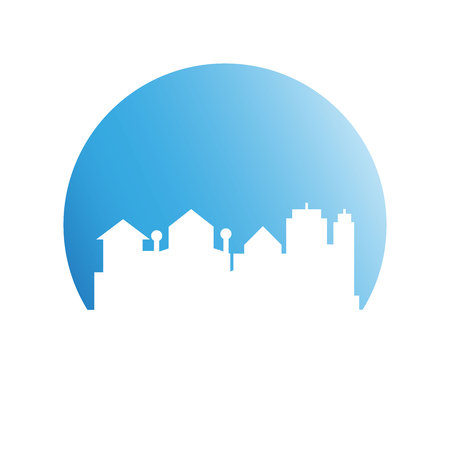 building tower and city skyline in blue circle Illustration
