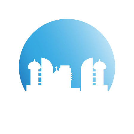 modern building tower and city skyline in blue circle