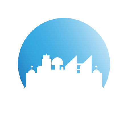 building modern city skyline in blue circle Illustration