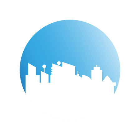 building modern city skyline in blue circle