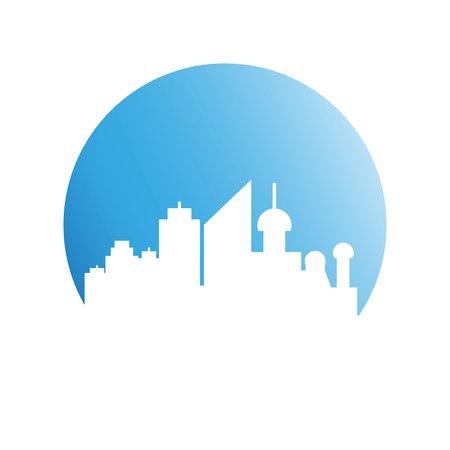 building modern city skyline in blue circle Ilustrace