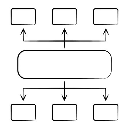 hand drawn diagram and organization chart template Ilustrace