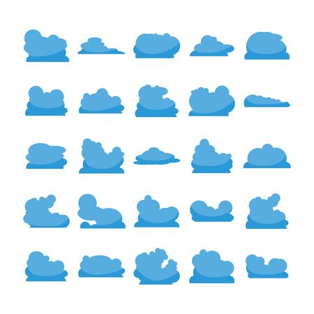 blue cloud shape icons collection vector Vector Illustration