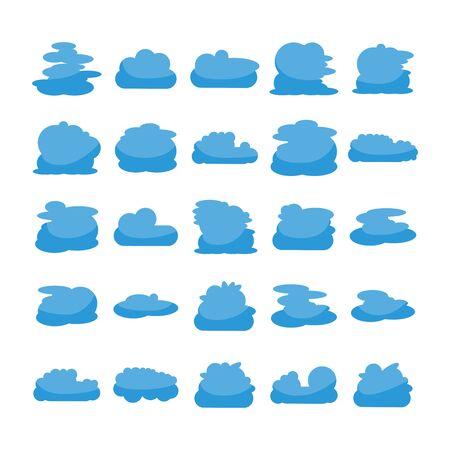 blue cloud shape icons collection vector Vectores