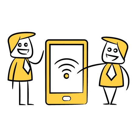 doodle businessman and mobile phone wifi