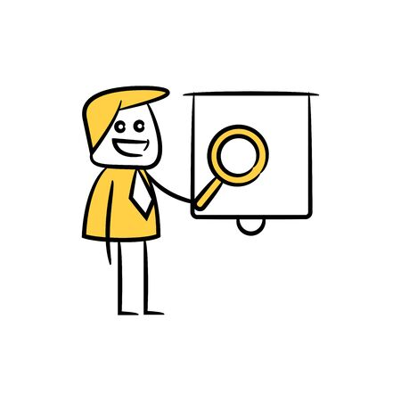 businessman presentation with whiteboard and magnifier Illustration