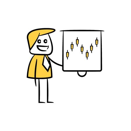 businessman presentation with whiteboard plot chart