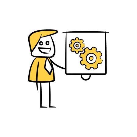 businessman presentation with whiteboard and gears Ilustrace