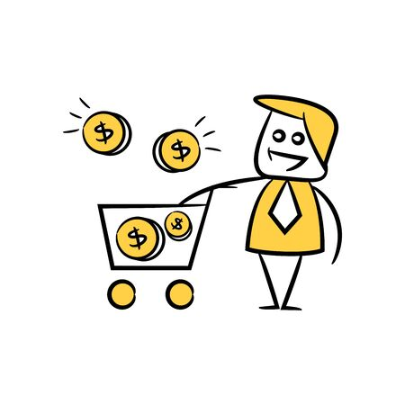doodle stick figure businessman money coins in shopping cart