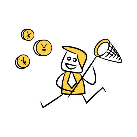 doodle stick figure businessman using hand net catching Yuan coin