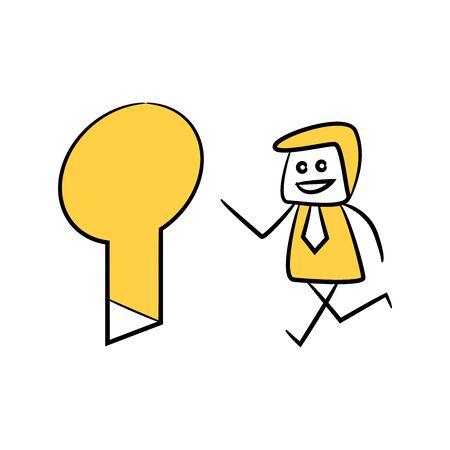 doodle stick figure businessman walking through key hole door way for best solution concept