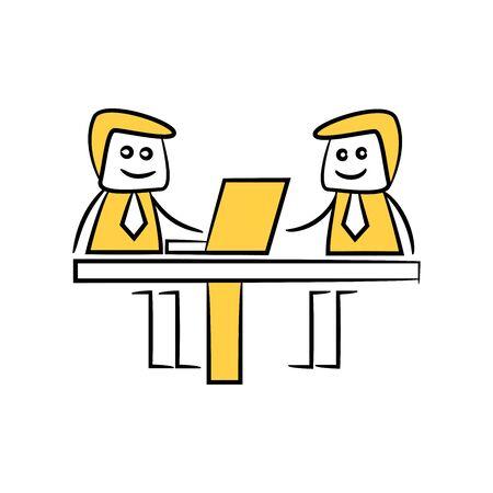scarabocchiare figura stilizzata uomo d'affari che lavora al computer portatile