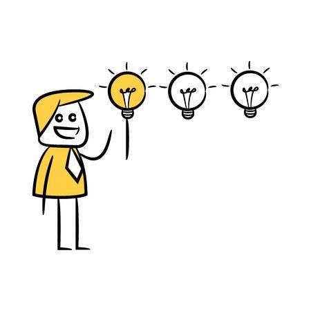 doodle stick figure businessman turning on light bulb