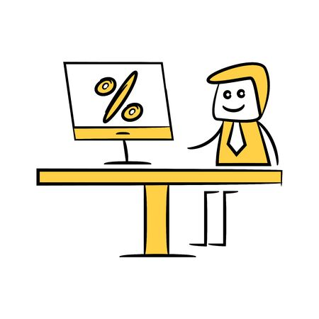 businessman working on computer percentage doodle theme