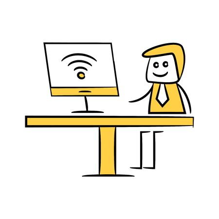 businessman working on computer and wifi doodle theme