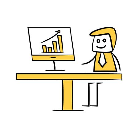 businessman working on computer and graph doodle theme Ilustrace