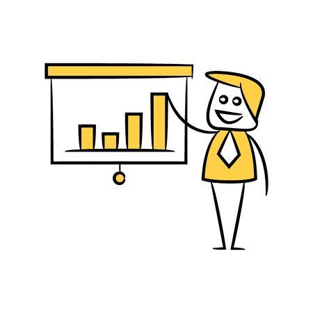 businessman and presentation chart doodle theme Ilustrace