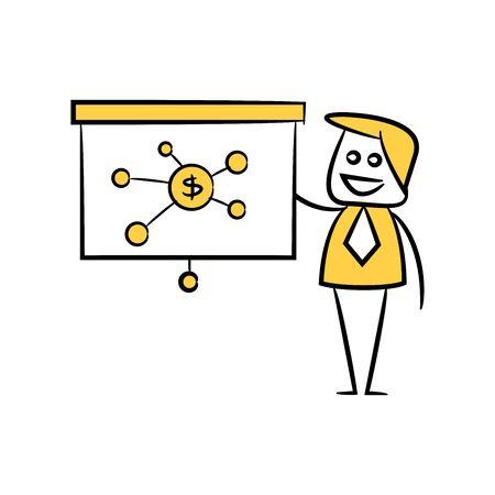 businessman and presentation chart money network doodle theme Ilustrace