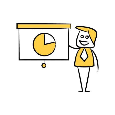 businessman and presentation chart pie chart doodle theme