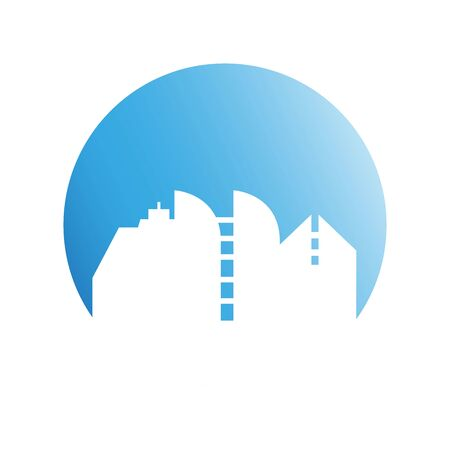 city downtown building in blue circle background