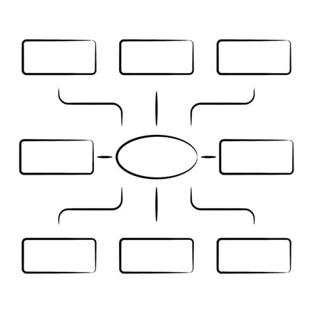 hand drawn diagram and organization chart template Illustration