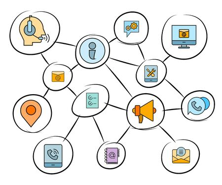 contact and communication concept network Illustration