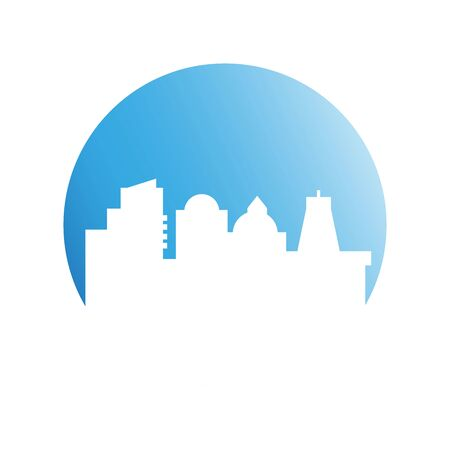 city tower building in blue circle button