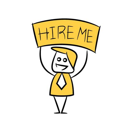 doodle stick figure businessman showing hire me signage