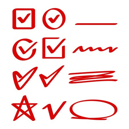 red hand drawn check, mark wrong mark, underline and oval marker