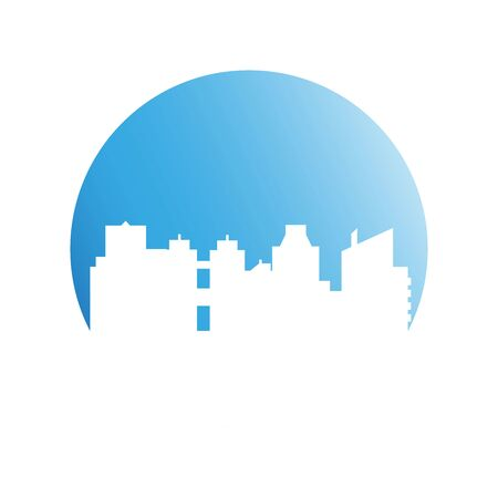 building, city skyline in blue circle