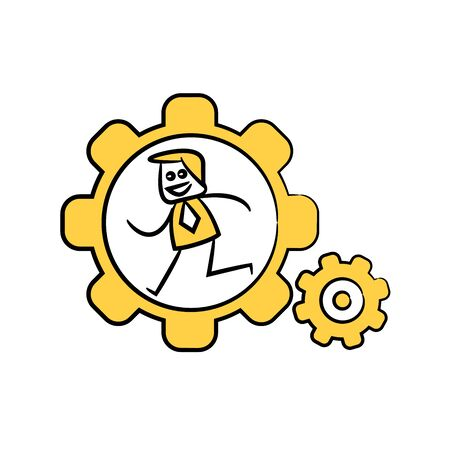 businessman running in cog wheels yellow doodle design