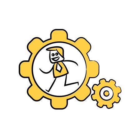 businessman running in cog wheels yellow doodle design