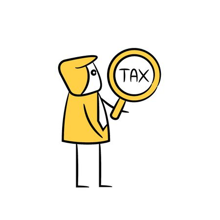businessman tax search yellow doodle design