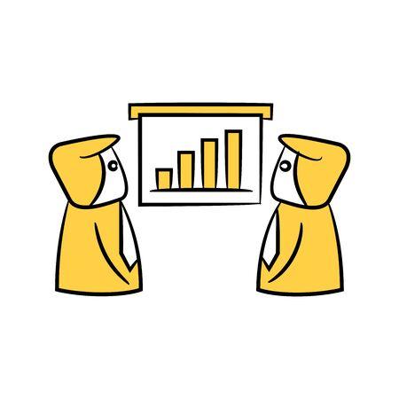 businessman and bar chart present yellow doodle design